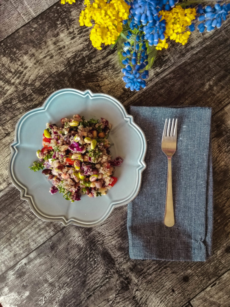 Quinoa Salad and flowers
