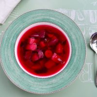beet soup top view