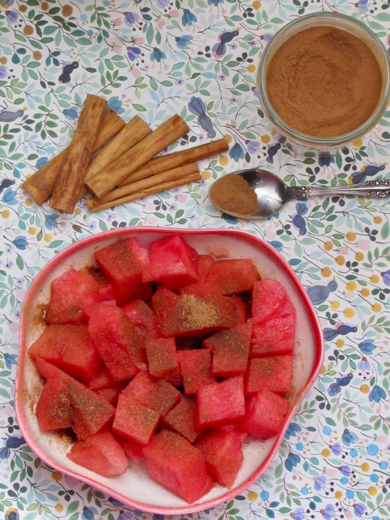 watermelon cubes and cinnamon