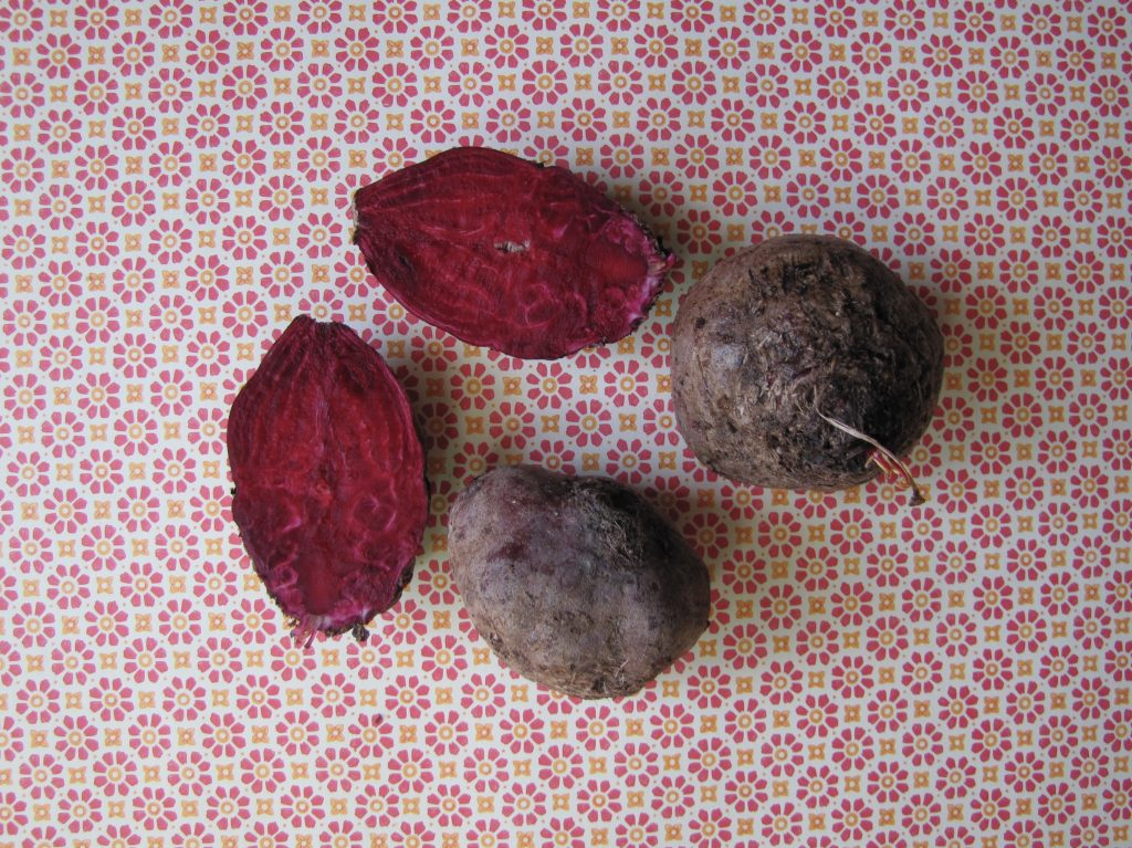beets whole and cut in half