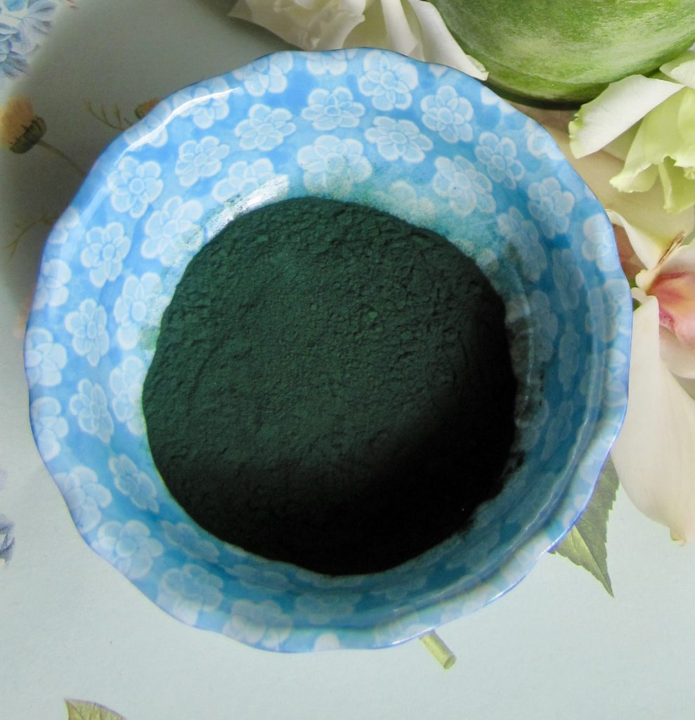 spirulina in a small bowl
