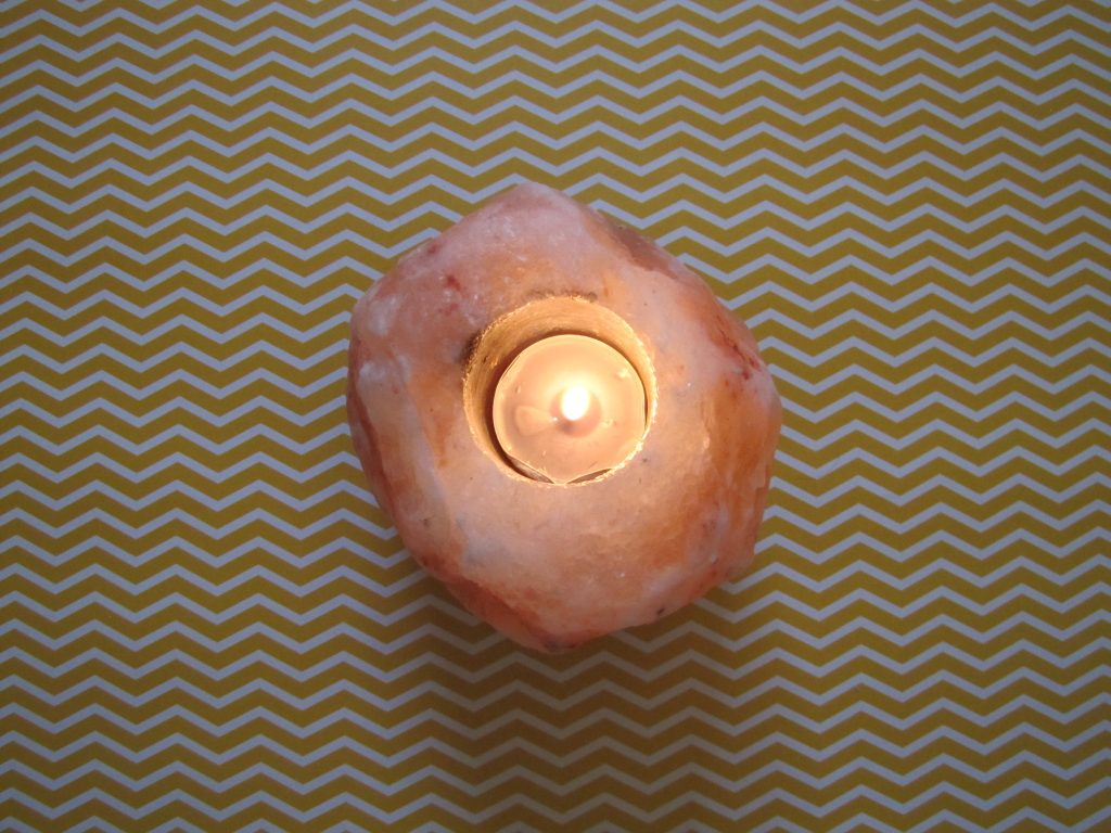 Himalayan Salt Lamp with a candle