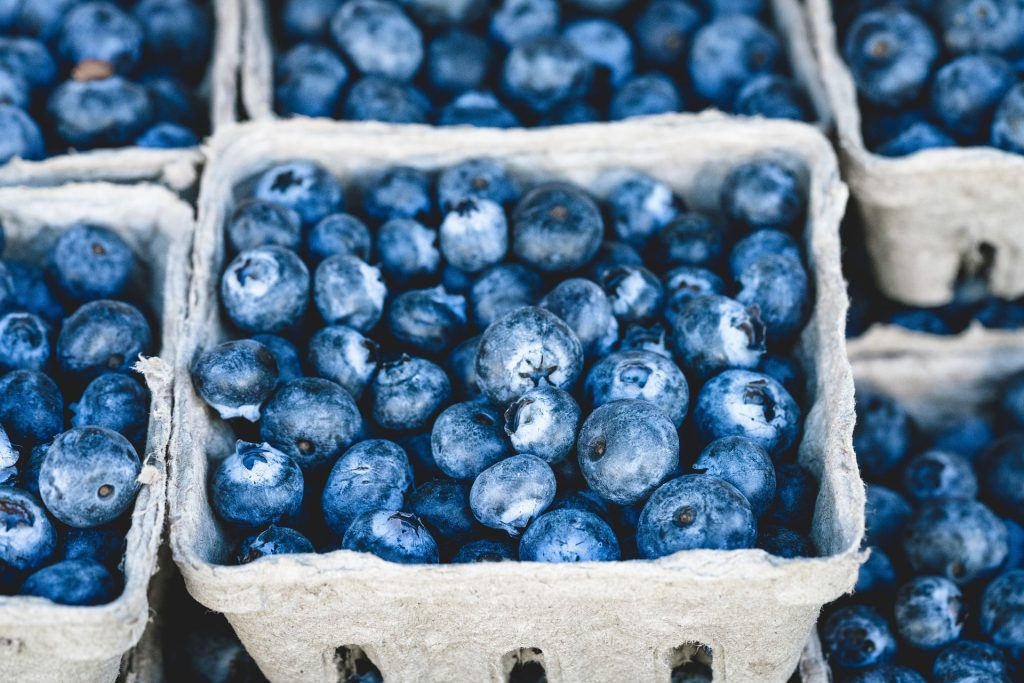 Blueberries in a paper basket