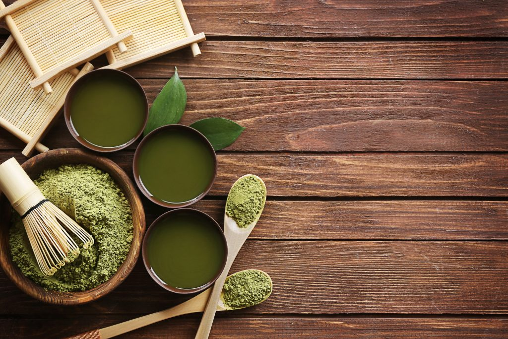 Matcha powder and in cups