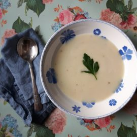 Cauliflower and roasted garlic soup for lunch