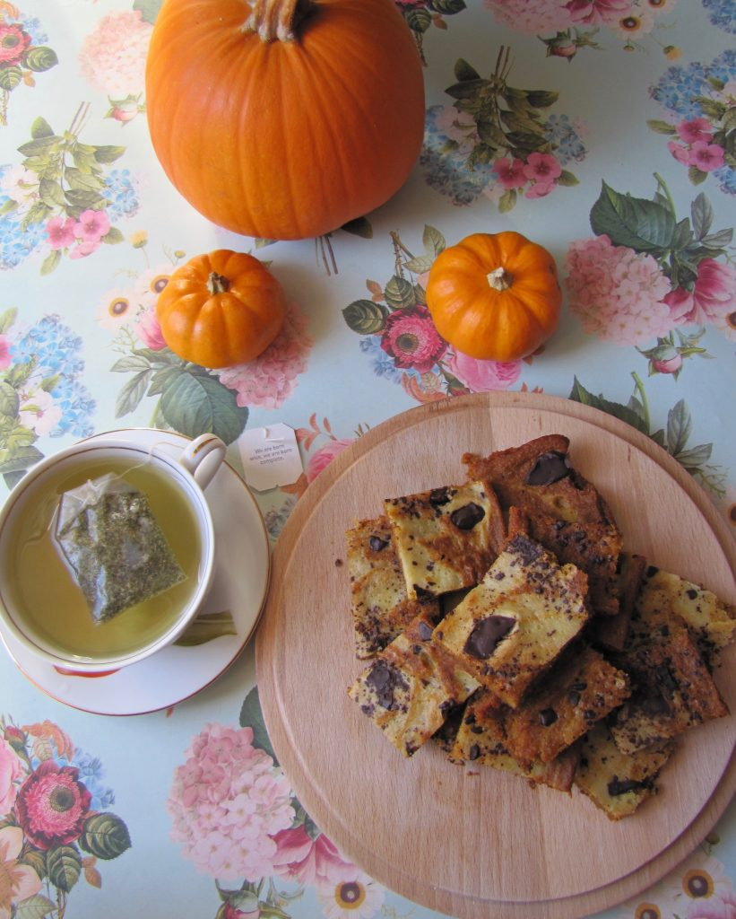 pumpkin swirl bars, tea and pumpkins