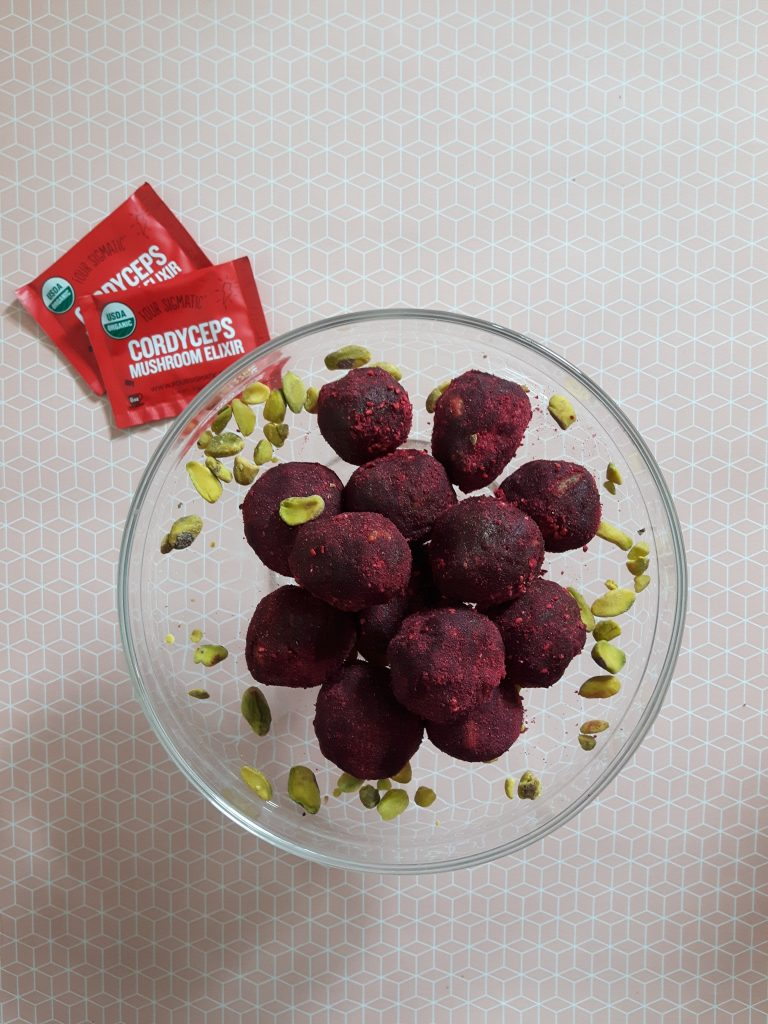 Cordyceps and raspberry pistachio bliss balls