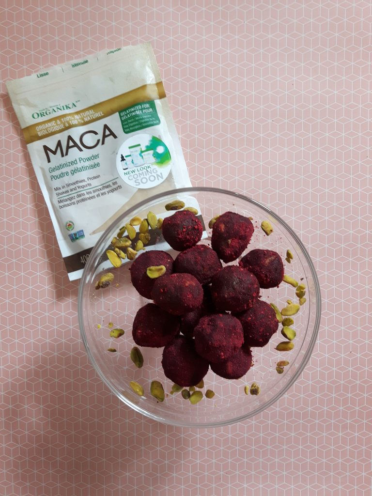 Maca and raspberry pistachio bliss balls