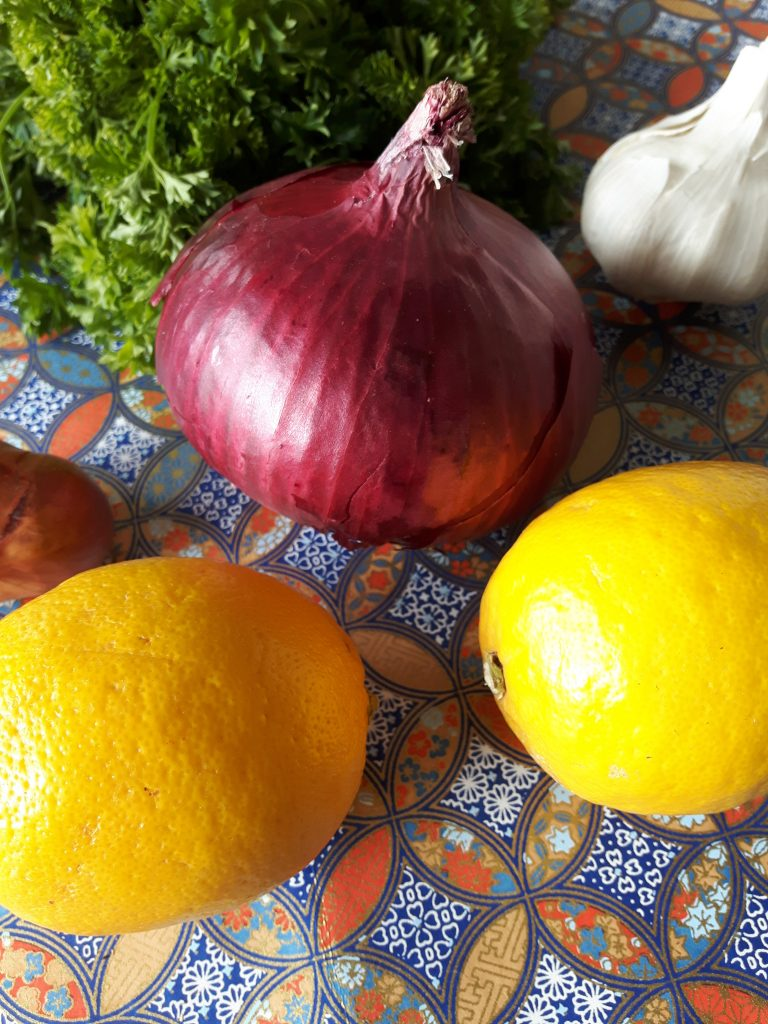 lemon and red onion