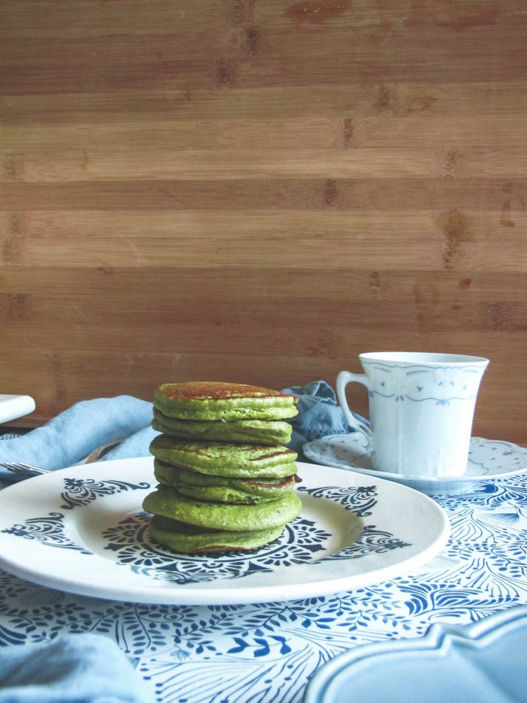 Mini Matcha Pancakes and tea