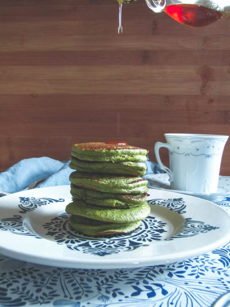 mini matcha pancakes and maple syrup