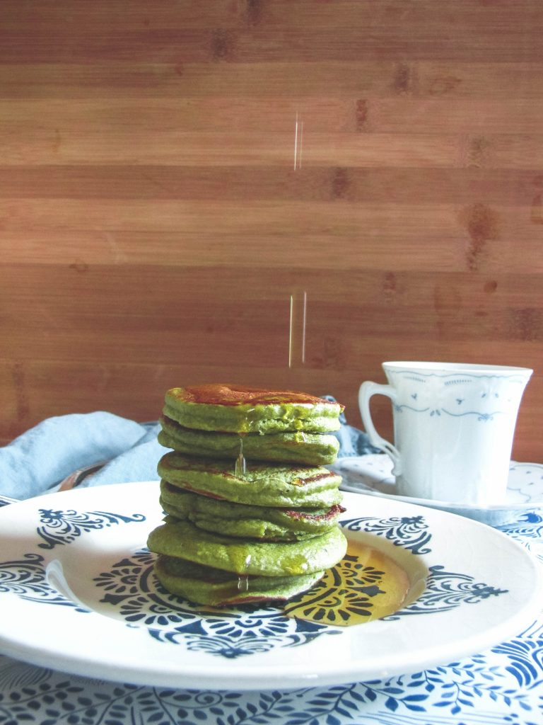Matcha pancakes and maple syrup pool