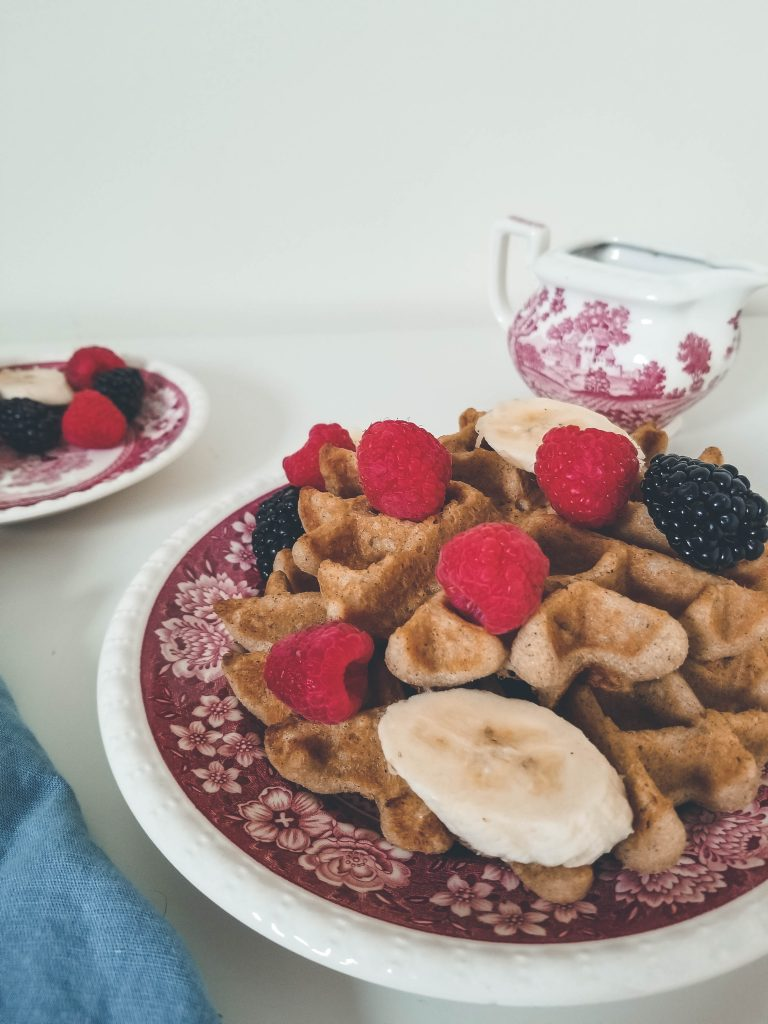 waffle topped with fruit