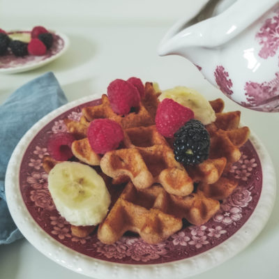 waffles and maple syrup