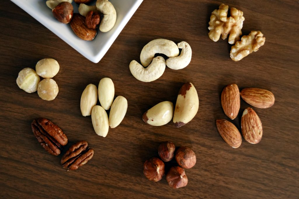 almonds, cashews and brazil nuts