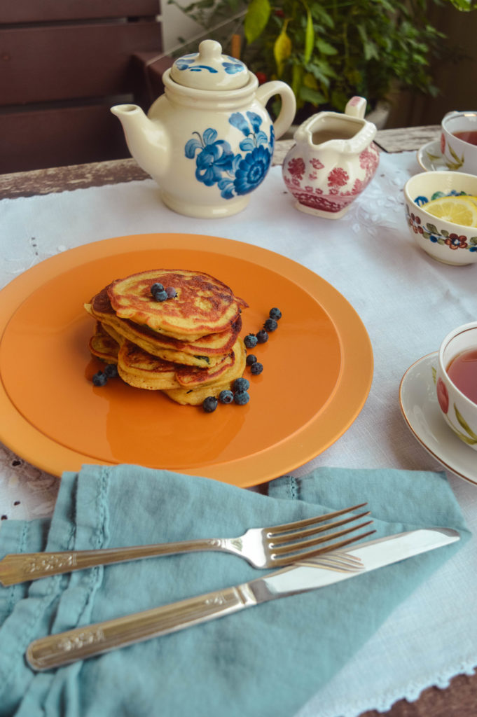 Lemon and wild blueberry Ricotta Pancakes