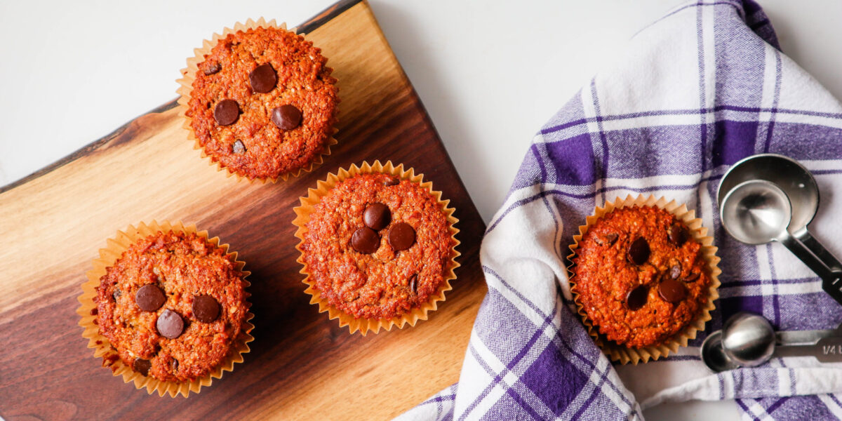Banana Chocolate Chip Oat Bran Muffins